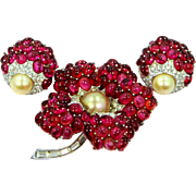Rare Marcel Boucher Ruby Red Cabochons Floral Pin & Earrings Set