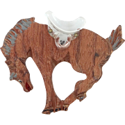 1940's Lucite and Wood Figural Horse Pin