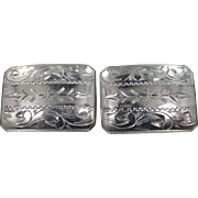 950 Sterling Silver Finely Etched Art Deco Cufflinks Cuff Links