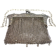 1800's German Silver Art Nouveau Mesh Purse