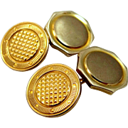 Reversible Krementz Gold Plate Cuff Links Cufflinks