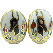 Victoria Flemming Porcelain Cufflinks Cuff Links Christmas Theme