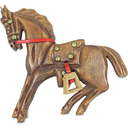 Vintage 1950's Carved Wood with Leather & Brass Trim Horse Brooch