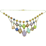 Well Made Multi Colored Agate Gold Filled Bib Necklace
