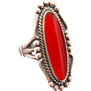 Bell Trading Post Sterling Silver Carnelian Southwestern Lady's Ring