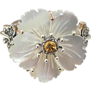 Mother of Pearl sterling Flower Ring with Citrine & Marcasite Butterfly's