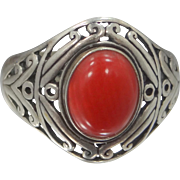 Nice Sterling Silver & Coral Size 9 Filigree Ring