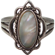 Pretty Sterling Silver Abalone Lady's Size 8 1/2 Ring
