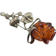 Carved Amber Rose Sterling Silver Pin