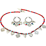 Quoc Turquoise Sterling Silver Coral Southwestern Necklace & Matching Hoop Earrings