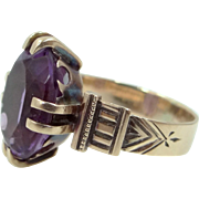 """Victorian 14k Rose Gold Amethyst Ring Engraved """"Father to Mary"""" inside Shank"""