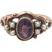 Victorian 10k Gold Amethsyt and Seed Pearls Ring