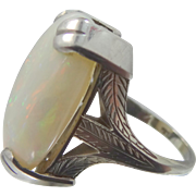 Art Deco 14k White Gold 15 Carat Opal Lady's 1920's Ring
