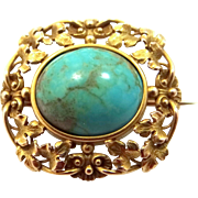 Victorian 14k Gold Turquoise Brooch