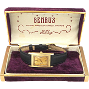 Man's 14k Solid Gold Benrus Wrist Watch Running Condition