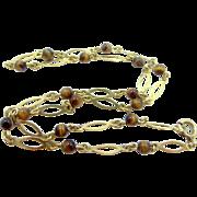 18k Gold Tiger Eye Necklace
