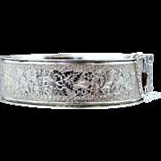 Wide Binder Bros. 1930's Sterling Silver Bangle Bracelet