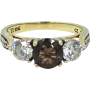 10k Gold Chocolate & Colorless Crystals Ring