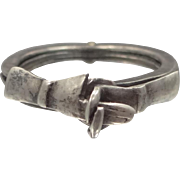 Vintage Old Mexico Taxco Signed Sterling Silver Movable Heart FEDE GIMMEL Promise Betrothal Ring size 5