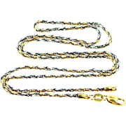 """Unusual 14k WHITE Gold & YELLOW Gold 18"""" Chain Necklace"""