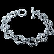 Heavy Solid Sterling Silver Anchor Pattern Bracelet