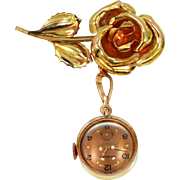 Retro Rose Gold Filled Figural Rose Lapel or Pendant Watch