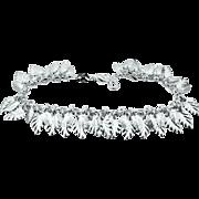 Sterling Silver Italy Leaf Dangles Bracelet