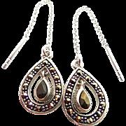 Sterling Silver & Marcasites Slider / Threader Earrings