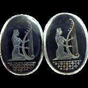 Amfarco Siam Sterling Woman Playing Harp Cufflinks Cuff Links Large