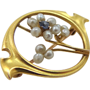 Art Nouveau 10k Gold Seed Pearls & Sapphire Pin