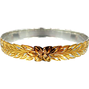 Beautiful Sterling Silver with Gold Wash Floral Bangle Bracelet