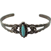 Small Artist Signed Sterling Silver & Turquoise Southwestern Cuff Bracelet