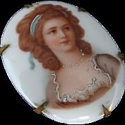 Victorian Hand Painted Porcelain Portrait Pin