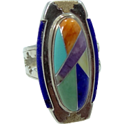 1980s Relios Jewelry Co. Sterling Silver Inlaid Gems Lady's Ring Pollack