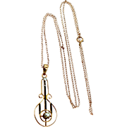 Victorian 10k Gold Seed Pearls and Enamel Lavalier with Chain