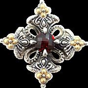 Barbara Bixby Sterling Silver, 18k Gold and Garnet Pin / Pendant