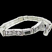 Maxim Art Deco Filigree and Faux Emeralds Watch Band