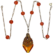 1930's Art Glass and Gilt Brass Art Deco Necklace with Paperclip Chain