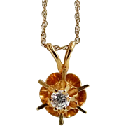 14k Gold and Diamond Buttercup Necklace