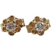 14k Gold and Diamonds Buttercup Earrings