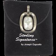 ESPO Joseph Esposito Solid Sterling Silver Mother of Pearl Enhancer Pendant MIB