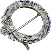 Art Deco 14k White Gold Filigree Diamond Pin with Bow Motif & Enamel