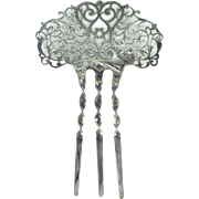 Large Victorian Sterling Silver Filigree Hair Comb with Cornucopia