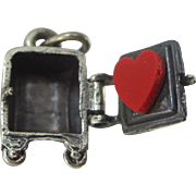 Beau Sterling Moveable Safe Charm with Heart Inside Valentine