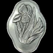 "Art Nouveau Silver Tone Metal Floral Pin 2 3/4"" High!"