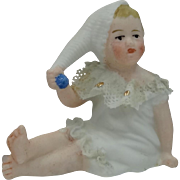 Cute Tiny Bisque Doll House Seated Figure in Her Nighty & Stocking Cap