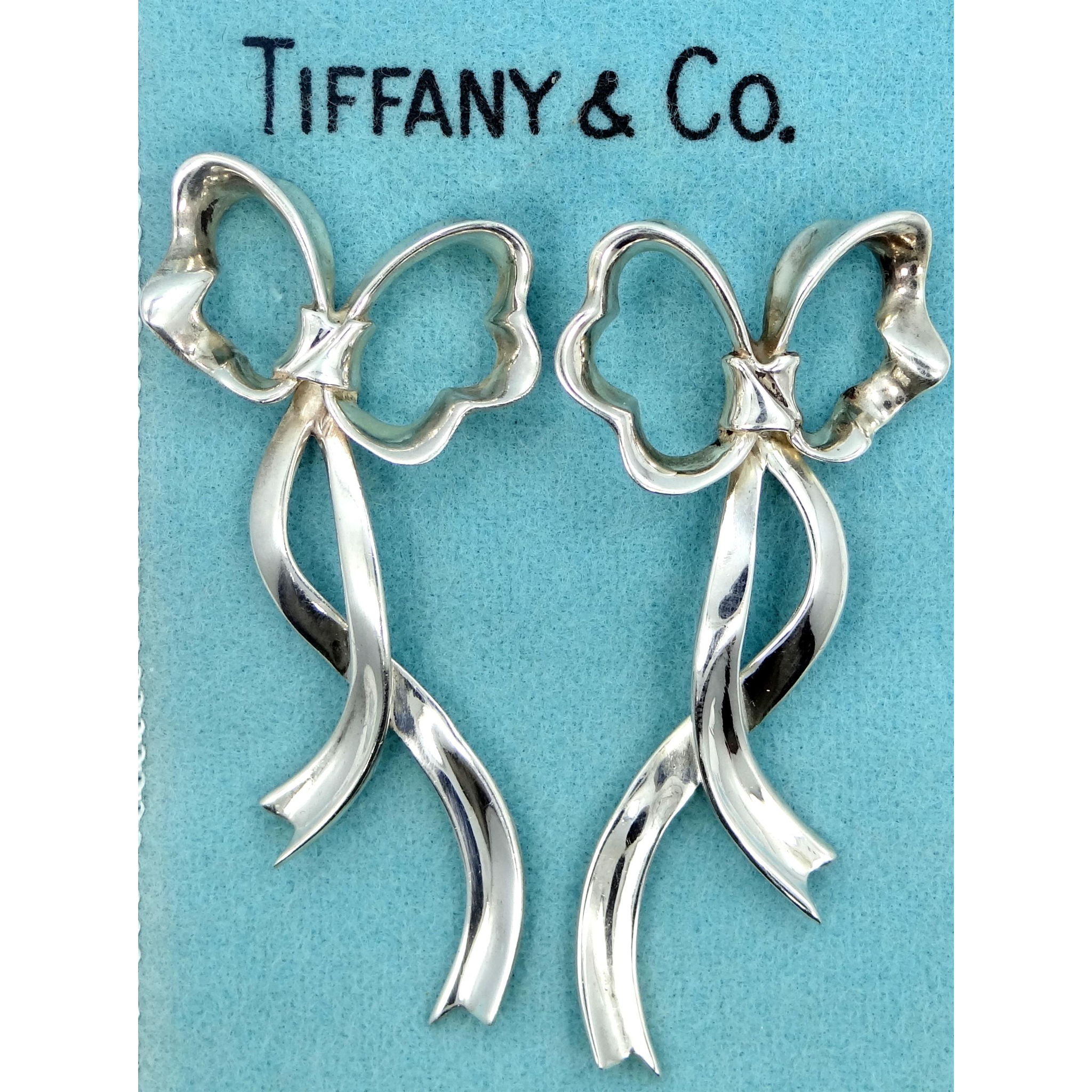 "Genuine Tiffany & Co. Sterling Silver ""Floating Bow"" or Ribbon Dangle Earrings w/Pouch"