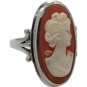 Heavy 10k White Gold Carved Shell Cameo Size 7 Lady's Ring