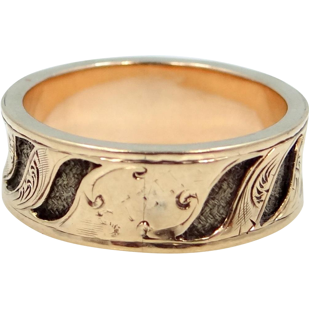 1860s 14k Gold Mourning Ring with Braided Hair