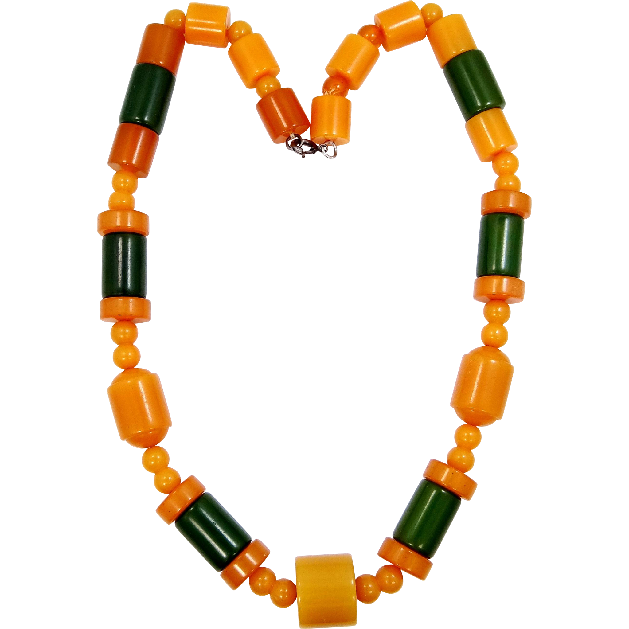 "1940s 19"" Long Green and Butterscotch Bakelite Necklace"